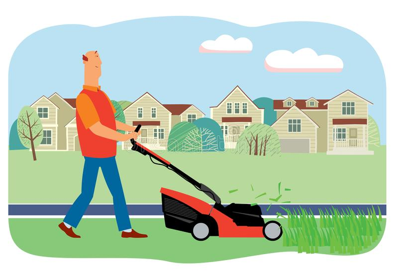 Smiling man mows grass with a lawn mower on the background of houses. Vector full color graphics stock illustration