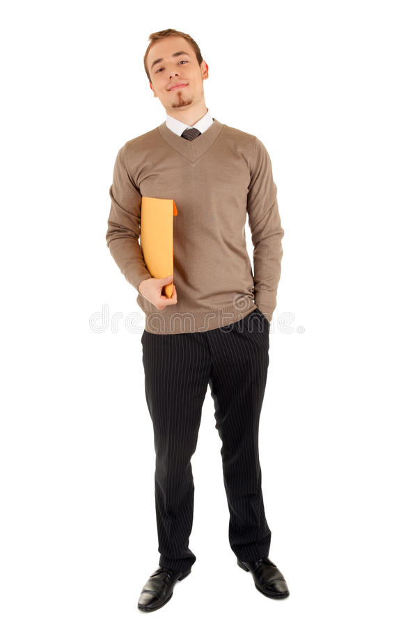 Smiling man with a post package royalty free stock image