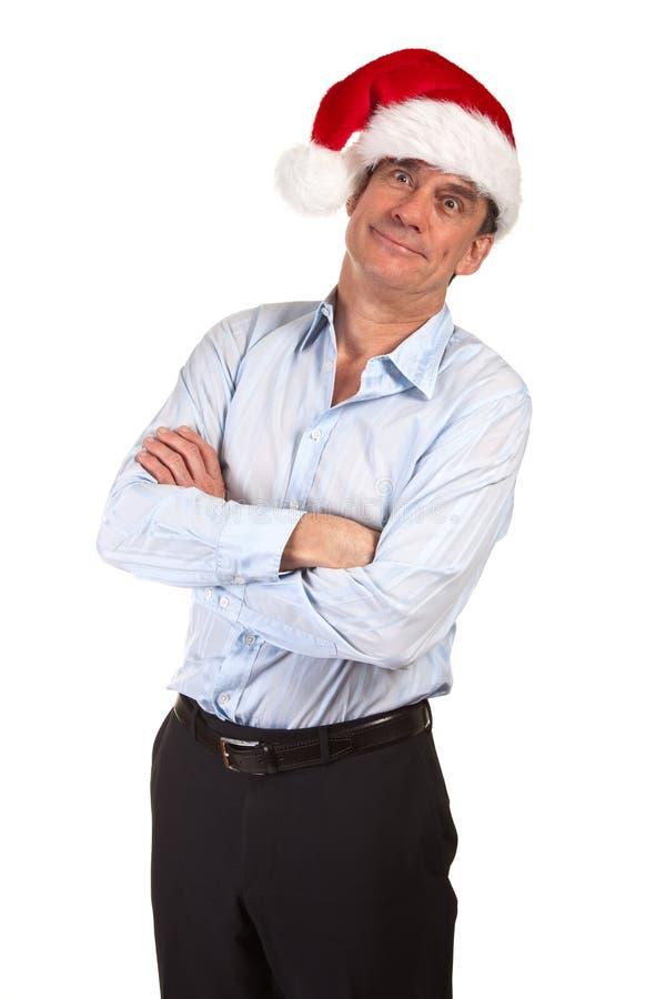 Smiling Man in Santa Hat Making Face