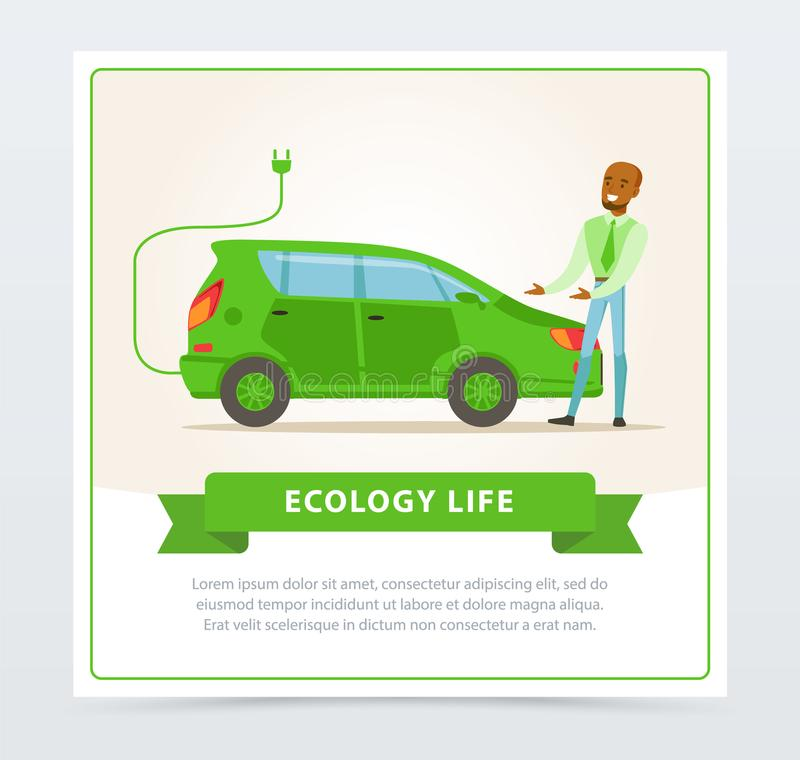 Ecological lifestyle concept with man showing electric car royalty free illustration