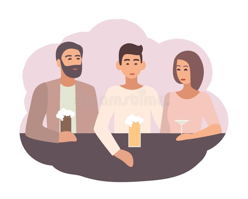 Smiling man sitting at bar counter with friends and drinking beer and cocktails. Male character spending time with mates vector illustration