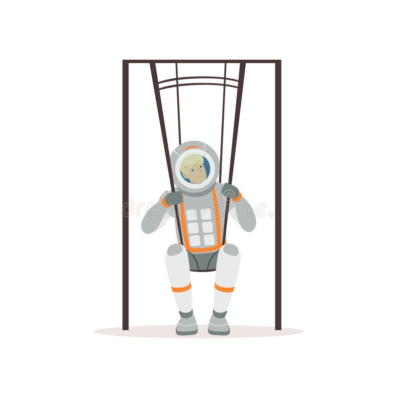 Smiling man in spacesuit training on special swings. Young astronaut preparing for space flight. Testing of physical royalty free illustration