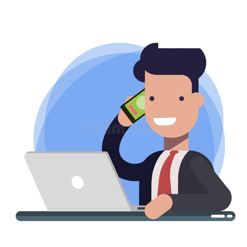 Smiling man talking on mobile phone while using laptop computer at desk in study. Businessman, support or sales manager royalty free illustration