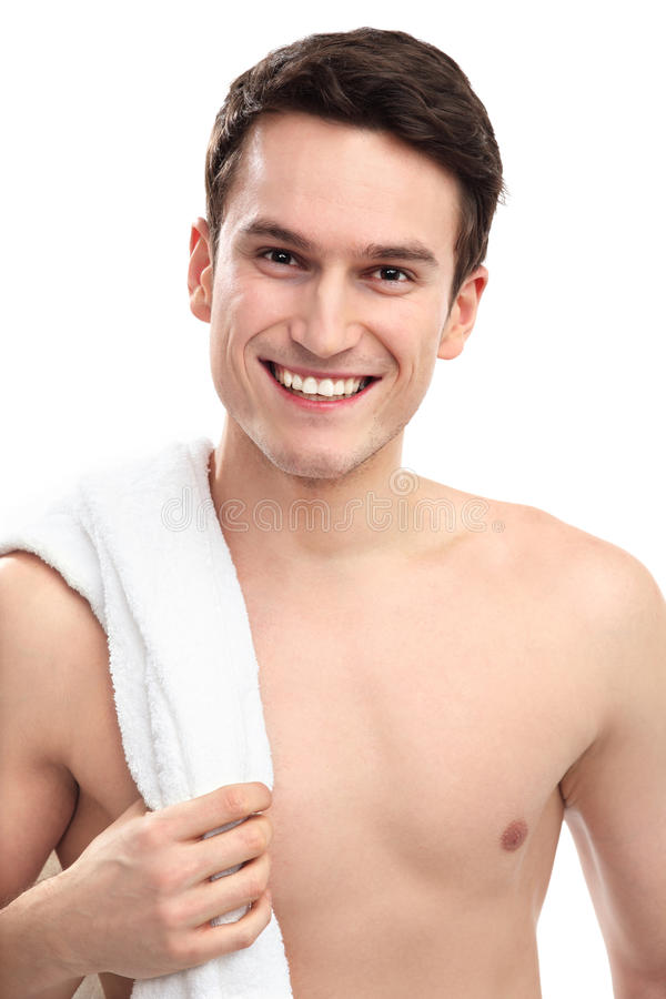 Download Smiling man with towel stock image. Image of casual, clean - 29304269