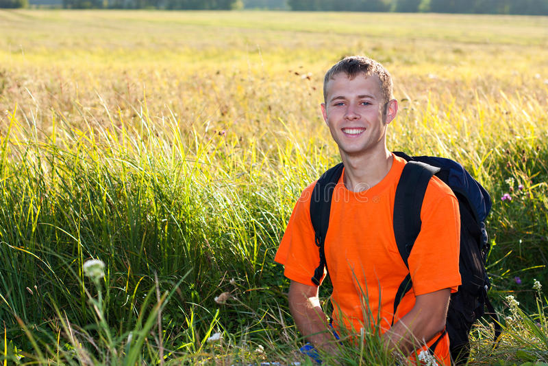 Download Smiling man traveler stock image. Image of focus, forward - 23479861