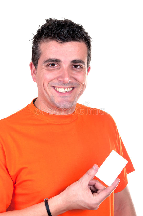Smiling man with Valentin heart in hand royalty free stock image