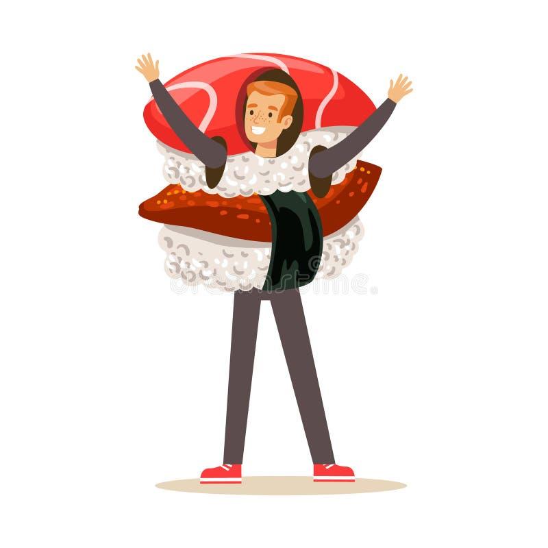 Smiling man wearing sashimi sushi costume, vector Illustration. Isolated on a white background vector illustration