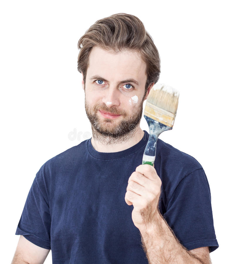 Free Smiling Man With Paint Brush - Renovation Royalty Free Stock Photos - 34357578