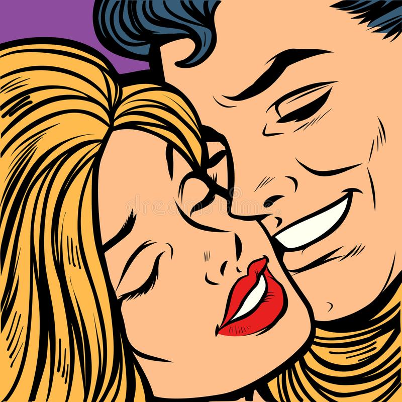 Smiling man and woman, close-up face. A couple in love vector illustration