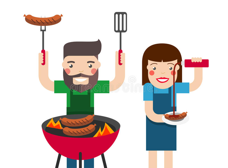 Smiling man and woman cooking barbecue stock illustration