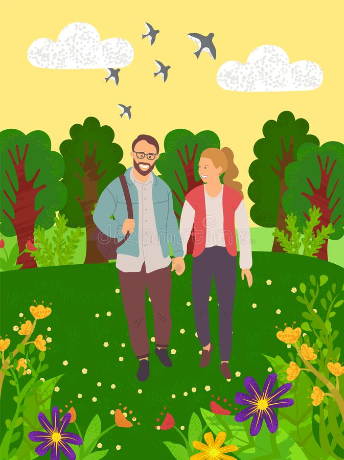 Lovers in Forest, Green Nature, Leisure Vector. Smiling man and woman holding hands and walking in forest or park, portrait view of couple characters outdoor royalty free illustration