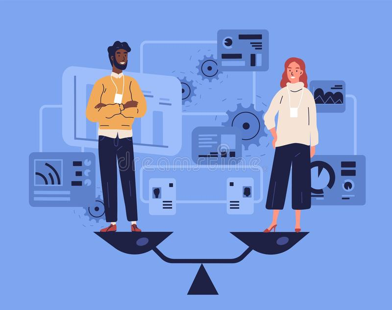 Smiling man and woman standing on weighing dishes of balance scale. Concept of gender equality at work or in business. Equal rights for both sexes. Colorful vector illustration