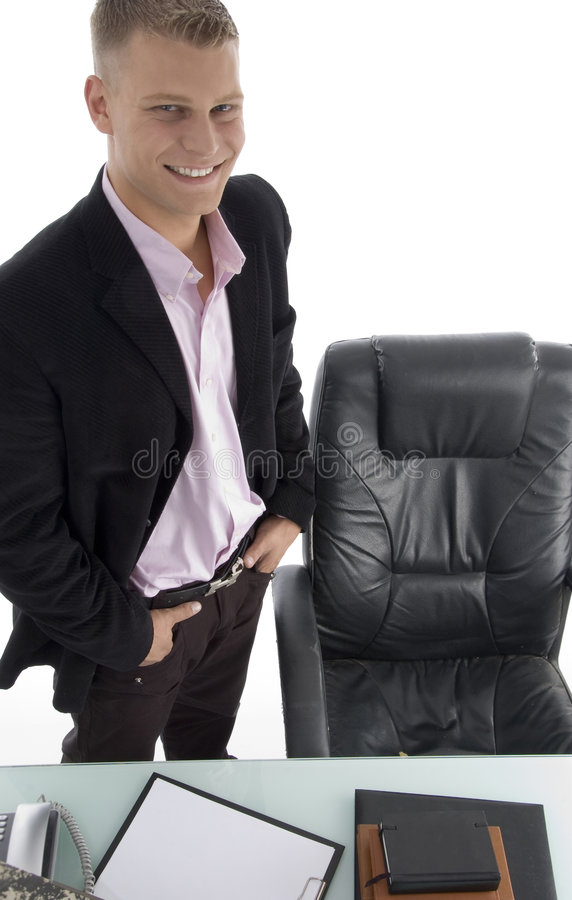 Smiling manager in office stock photos