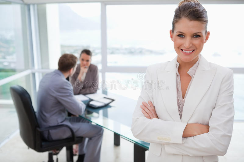 Download Smiling Manager Standing In Conference Room Stock Image - Image: 22362913