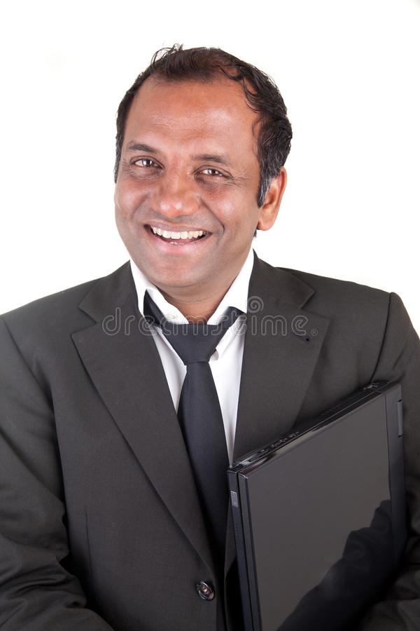 Smiling mature business man with notebook royalty free stock photos