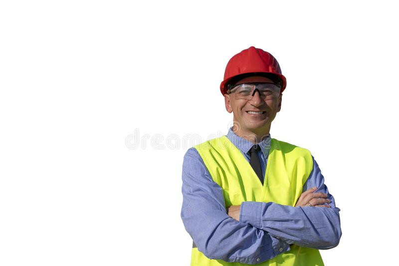 Smiling Mature Businessman or Engineer in Red Hardhat Over White Background royalty free stock photo