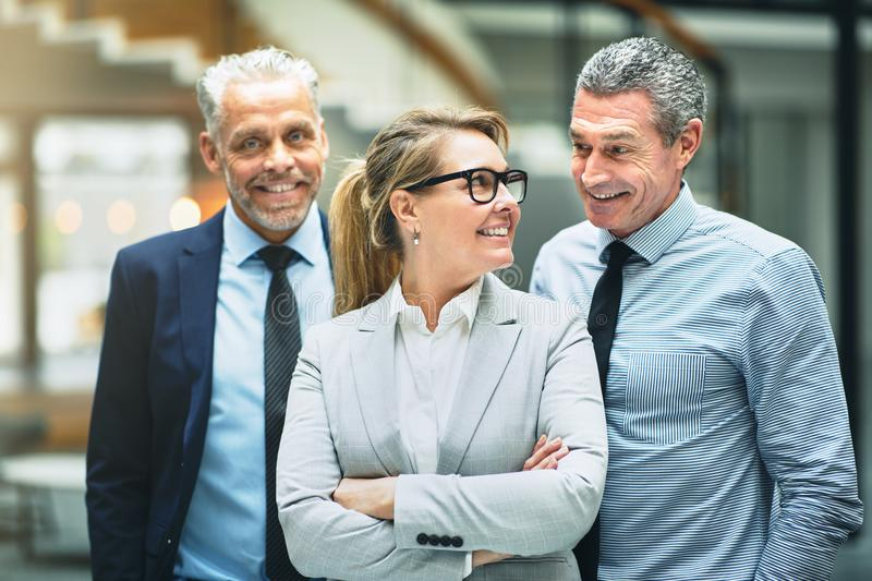 Smiling mature businesswoman and coworkers talking together in a stock photos