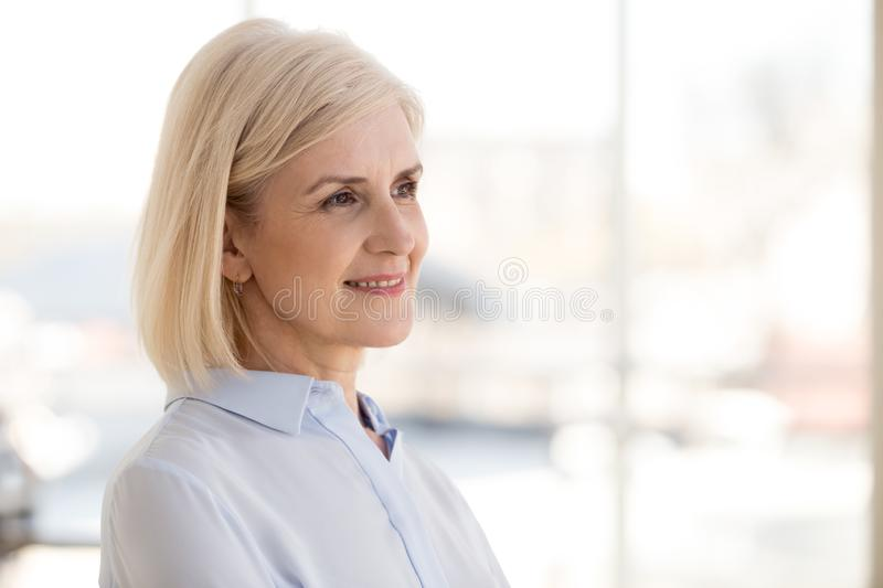 Smiling mature businesswoman thinking about work opportunities stock photos