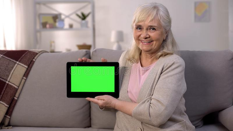 Smiling mature lady holding green screen tablet in hands, easy banking, shopping. Stock photo stock photo