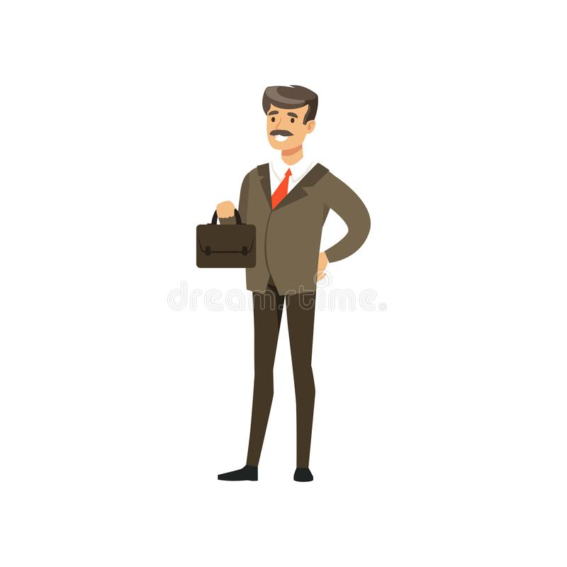 Smiling mature successful businessman character in suit standing with briefcase vector Illustration. Isolated on a white background stock illustration