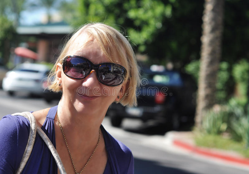 Smiling mature woman stock images