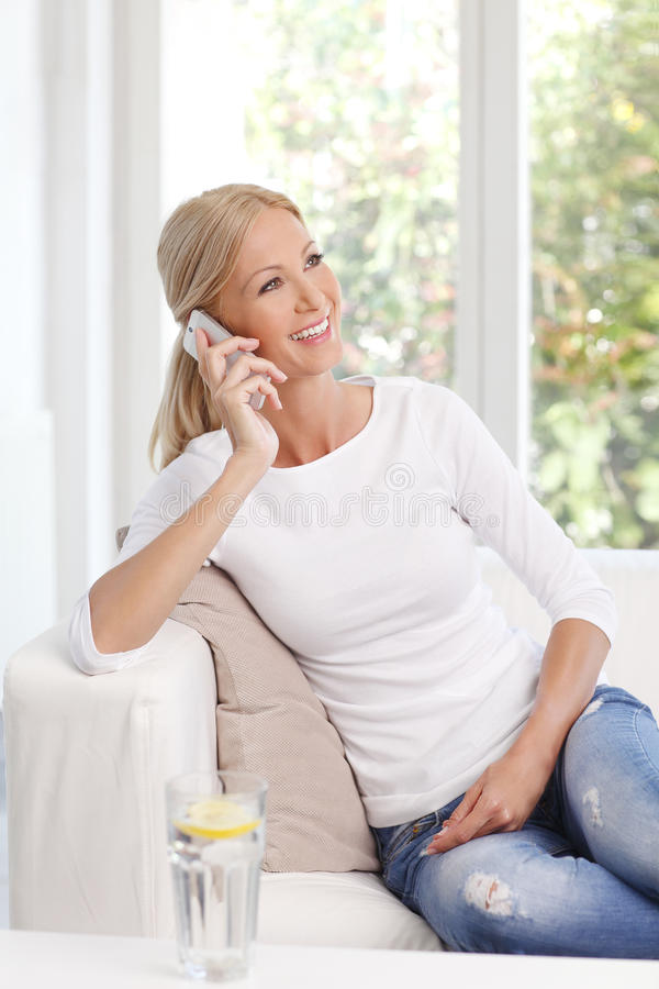 Smiling mature woman stock photos