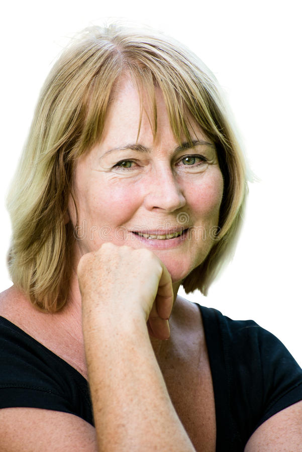 Smiling mature woman portrait stock photography