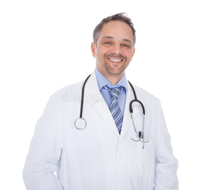 Smiling medical doctor man with stethoscope stock image