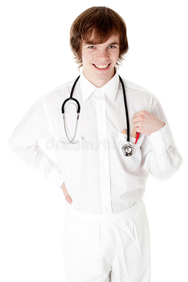 Smiling medical doctor with stethoscope. royalty free stock images
