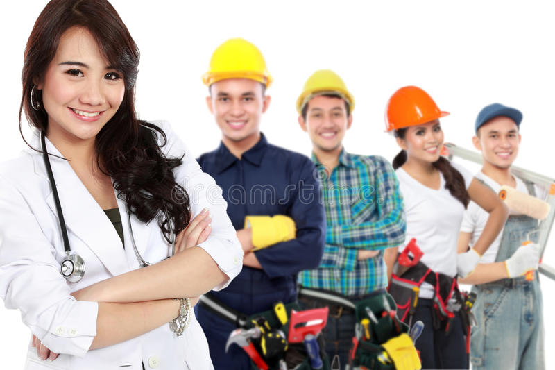 Smiling medical doctor. worker and employee healthcare insurance stock photo