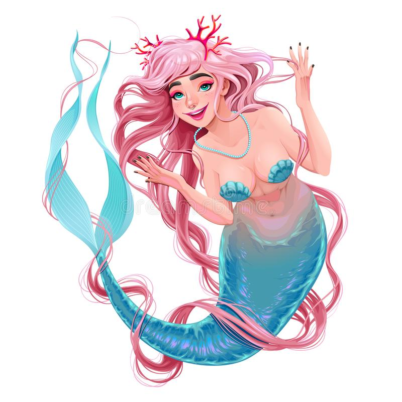 Free Smiling Mermaid With Long Hair Stock Photos - 129802113