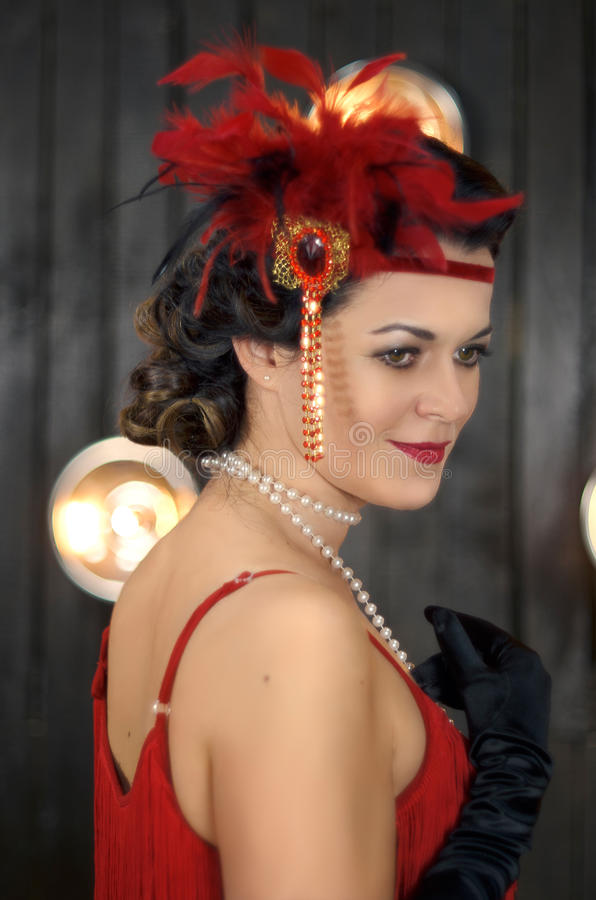 Middle aged beautiful women in Greate Gatsby style stock photography