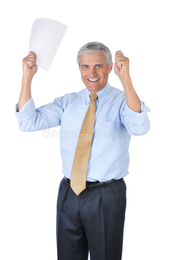 Smiling Middle aged Businessman his Arms Raised