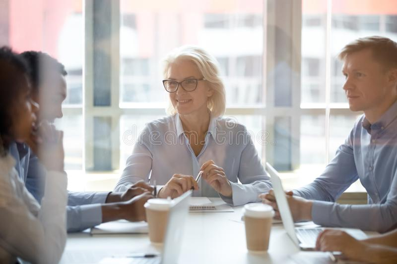 Smiling middle-aged businesswoman hold company office briefing stock image
