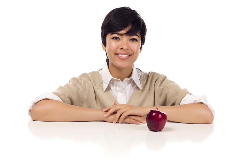 Smiling Mixed Race Young Adult Female Sitting royalty free stock image