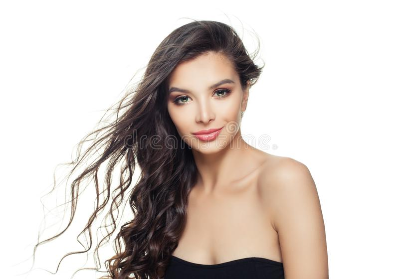 Smiling model woman with healthy hair isolated on white background royalty free stock photo