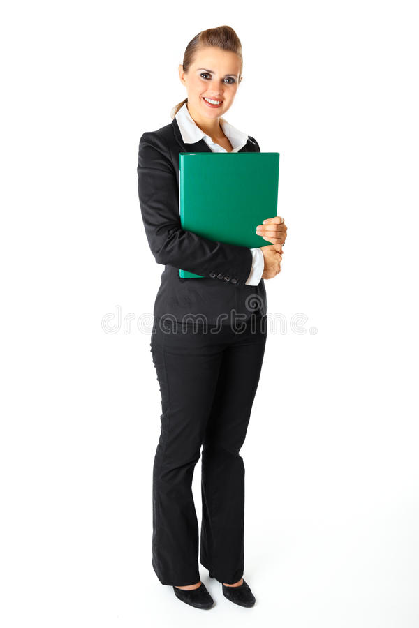 Smiling Modern Business Woman Holding Folders Royalty Free Stock Photos