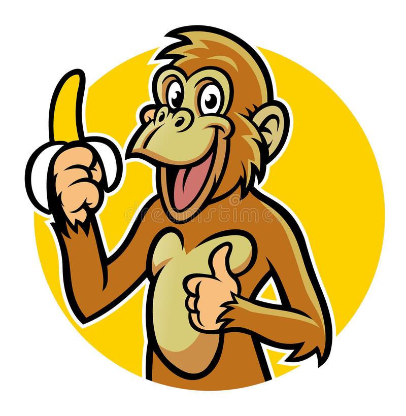 Smiling monkey with banana. Vector of smiling monkey with banana stock illustration