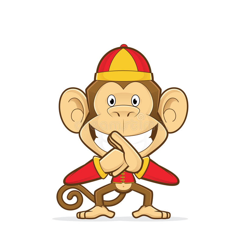 Smiling monkey wearing traditional chinese costume vector illustration