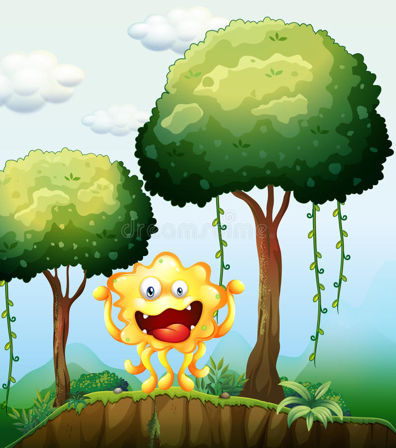 A Smiling Monster At The Forest Near The Cliff Stock Photos