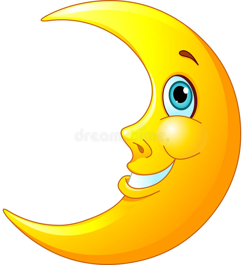 Smiling Moon. Illustration of a happy moon with a friendly smile on his face