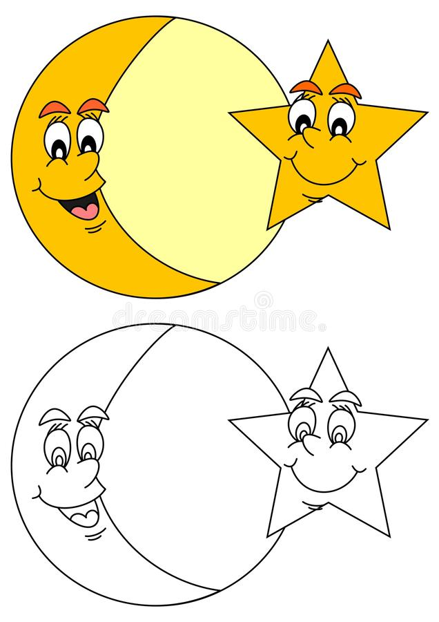 Free Smiling Moon With Star Stock Images - 79992254