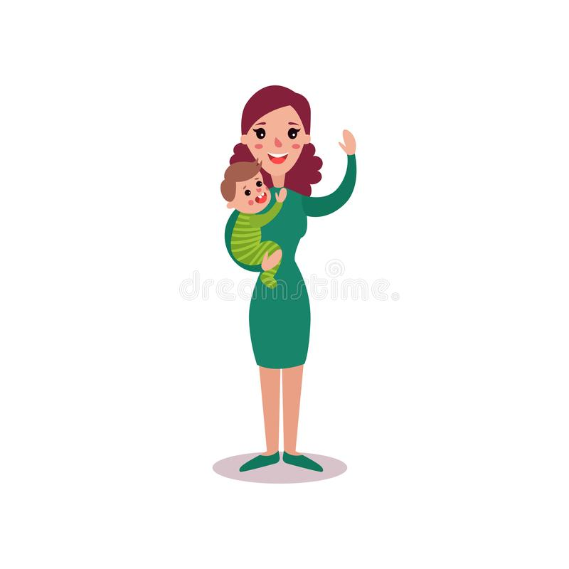 Smiling mother with baby in her arms vector Illustration vector illustration