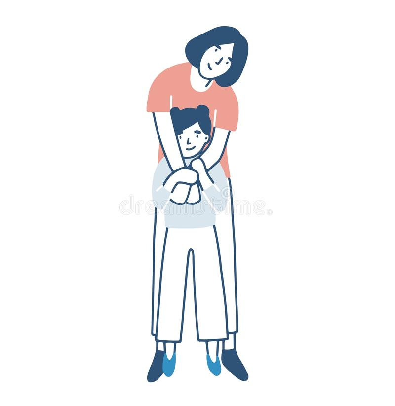 Smiling mother and daughter warmly hugging or cuddling. Mom standing behind child girl and embracing her. Happy loving royalty free illustration