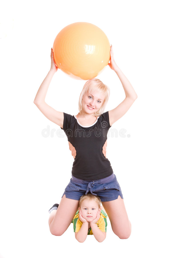 Download Smiling Mother And Her Son With A Fitness Ball On Royalty Free Stock Photography - Image: 4132227