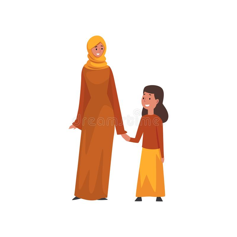 Smiling Mother Holding Hand Her Little Daughter, Muslim Arab Family in Traditional Clothes Vector Illustration vector illustration