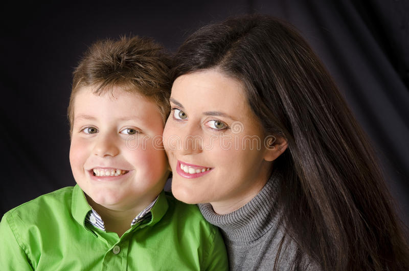 Smiling mother and son. stock image
