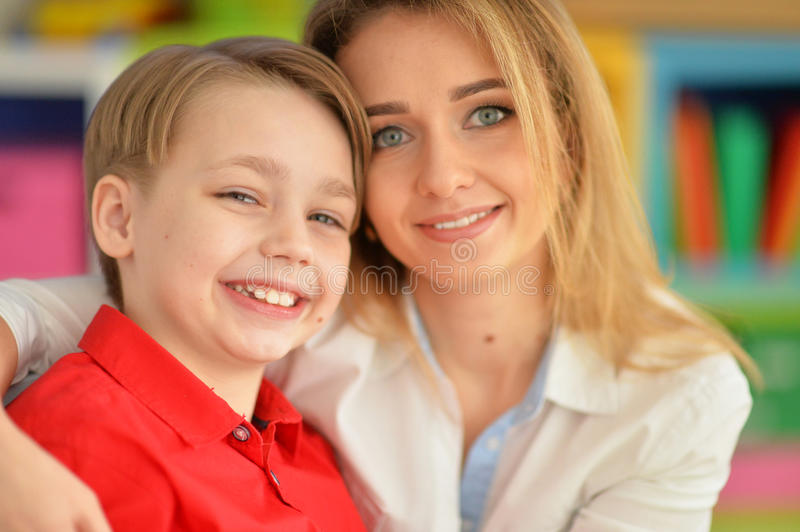 Smiling mother and son royalty free stock image