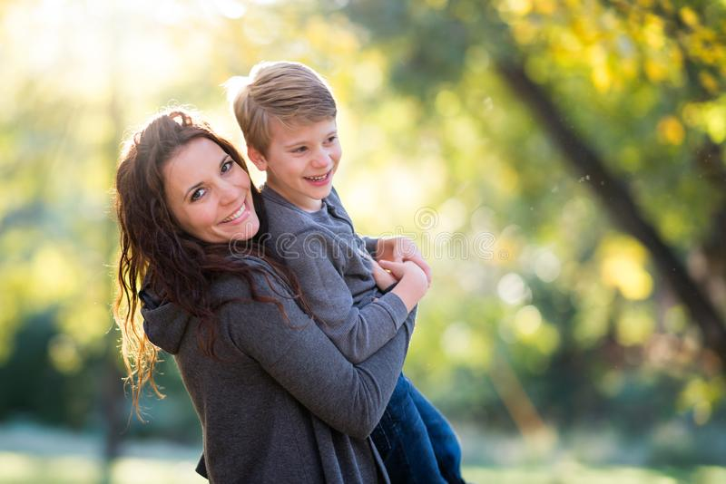 Smiling Mother and Son stock photo