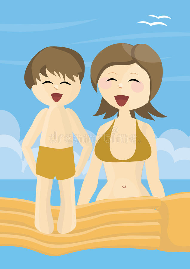 Smiling Mother And Son On Vacations Stock Photos